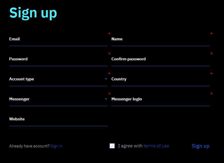 регистрация в Realpush