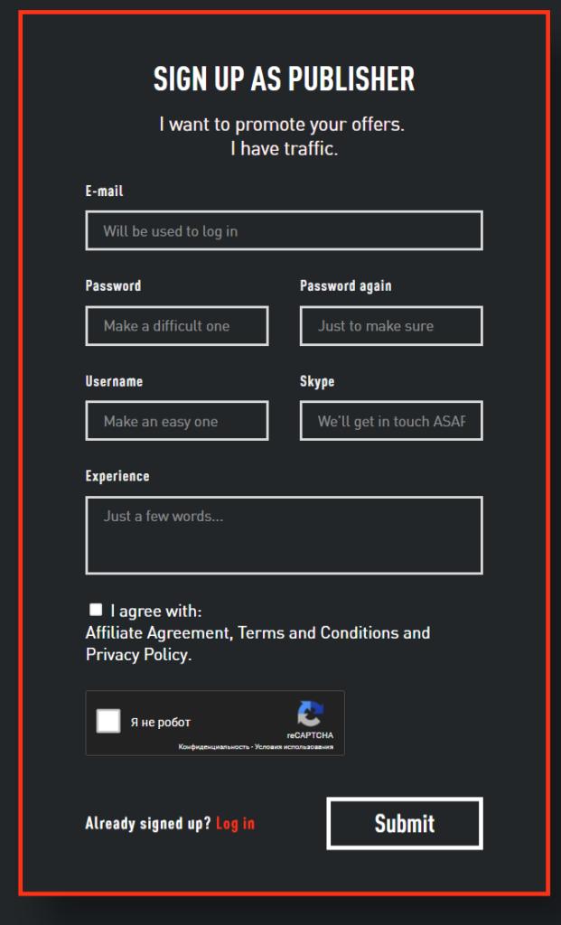 регистрация в AdCombo