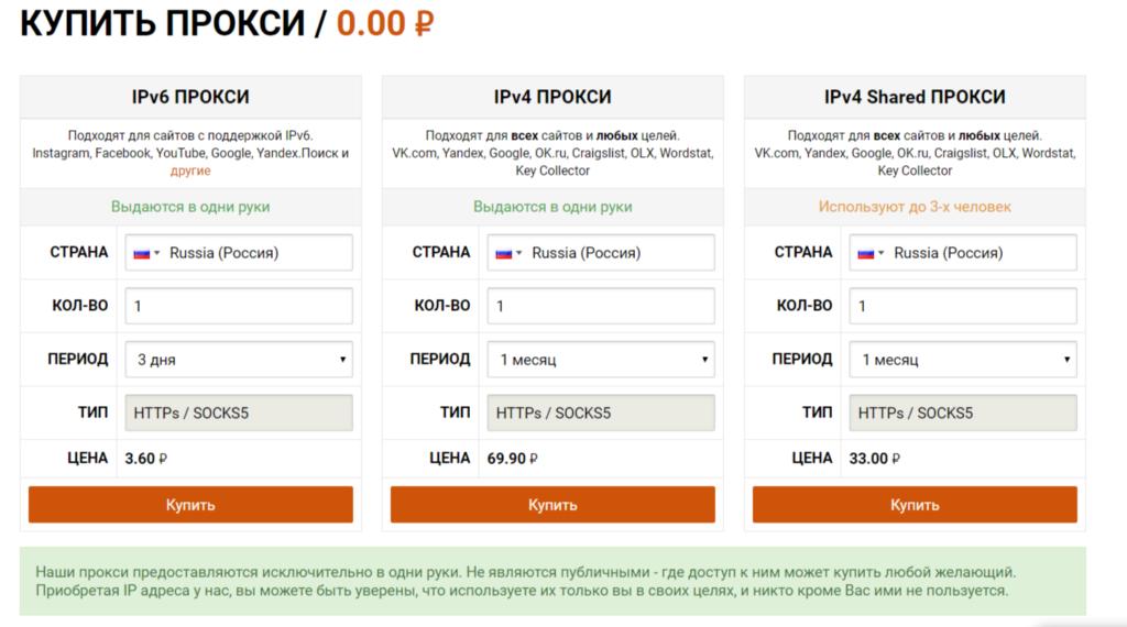 Купить прокси в Proxy6